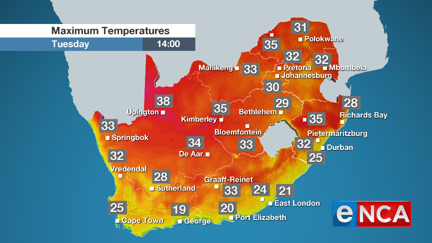Maximum temperatures for 17 September 2019