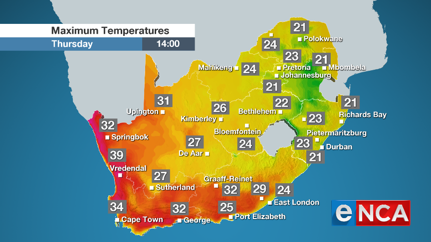 Maximum temperatures for Thursday 26 September 2019