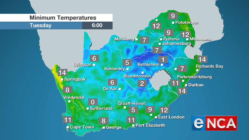 Minimum temperatures for Tuesday 3 September 2019