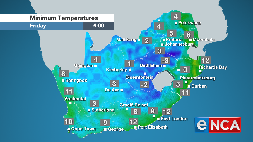 Minimum temperatures for 5 July