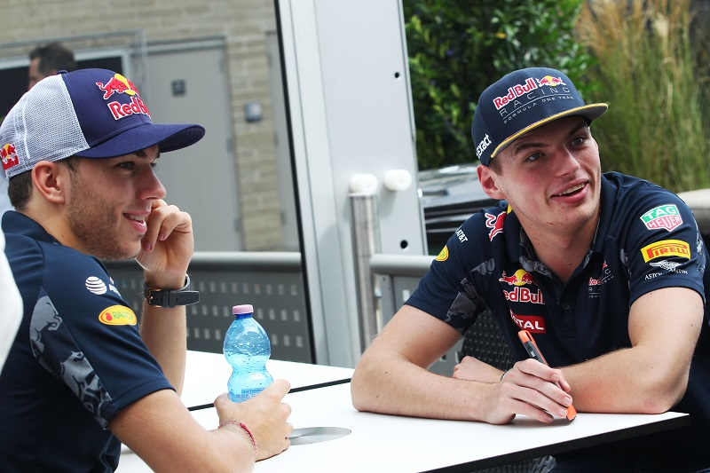 Pierre Gasly (FRA) Red Bull Racing Third Driver with Max Verstappen (NLD) Red Bull Racing.