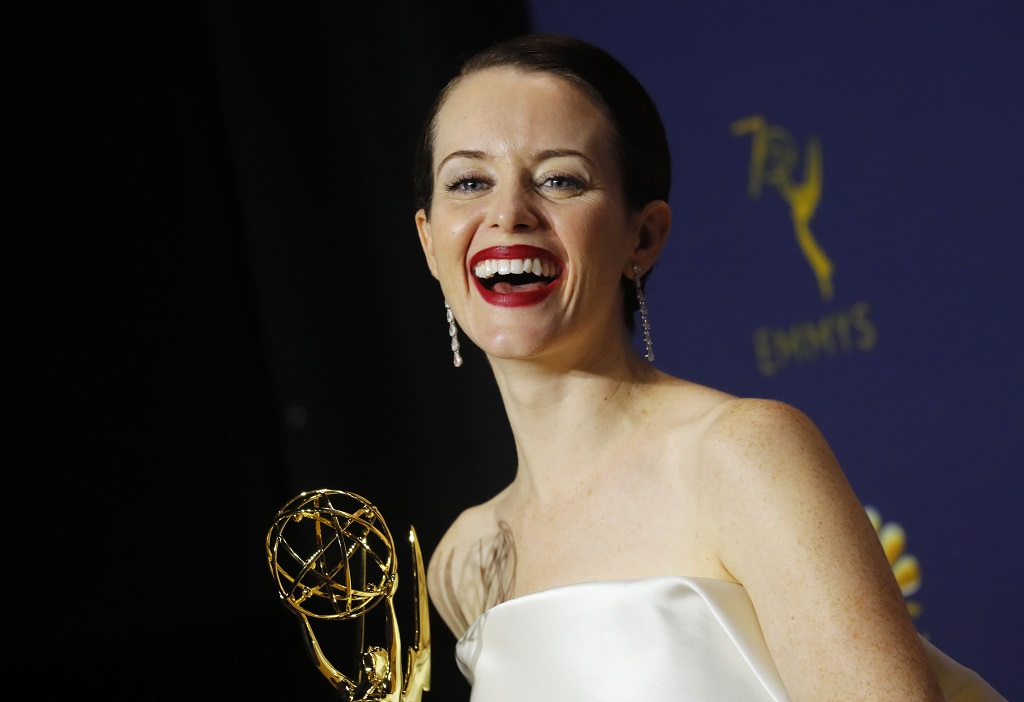 Claire Foy poses with her Emmy for Outstanding Lead Actress in a Drama series. REUTERS/Mike Blake