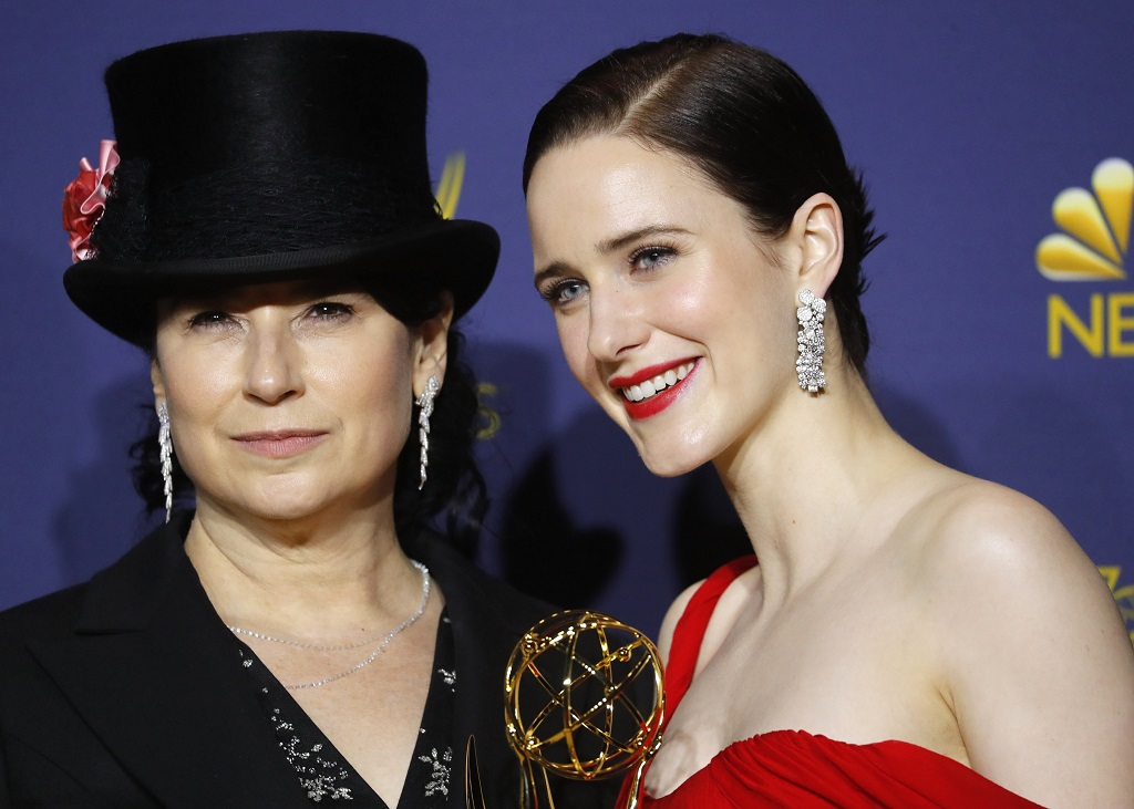 "Amy Sherman-Palladino (L) and Rachel Brosnahan pose backstage with their Outstanding Comedy Series award for ""The Marvelous Mrs. Maisel."" REUTERS/Mike Blake"
