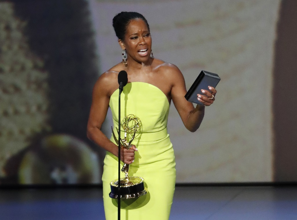 Regina King for Seven Seconds wins the Emmy for Outstanding Lead Actress in a Limited series or Movie. REUTERS/Mario Anzuoni