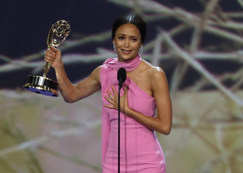 Thandie Newton for Westworld wins the Emmy for Outstanding Supporting Actress in a Drama series. REUTERS/Mario Anzuoni
