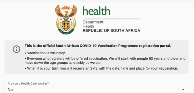 The Department of Health's COVID-19 vaccine registration portal