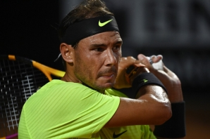 FILE: Spain's Rafael Nadal looks on during his quarter final match of the Men's Italian Open against Argentina's Diego Schwartzman at Foro Italico on September 19, 2020 in Rome, Italy.