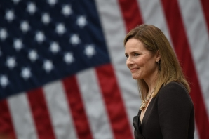 In this file photo Judge Amy Coney Barrett is nominated to the US Supreme Court by President Donald Trump in the Rose Garden of the White House in Washington, DC on September 26, 2020.