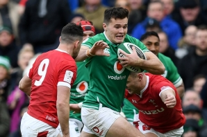 FILE: Ireland's wing Jacob Stockdale (C) runs with the ball during the Six Nations international rugby union match between Ireland and Wales at the Aviva Stadium in Dublin, on February 8, 2020.