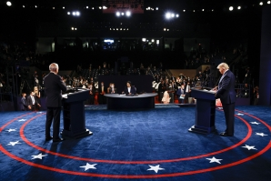 File: US President Donald Trump and Democratic presidential nominee Joe Biden participate in the final presidential debate at Belmont University on October 22, 2020 in Nashville, Tennessee. This is the last debate between the two candidates before the November 3 election. (AFP)