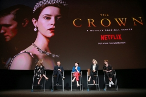 "Krista Smith, Peter Morgan, Claire Foy, Vanessa Kirby and Jane Petrie speak onstage during the For Your Consideration event for Netflix's ""The Crown"""