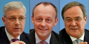 Germany's conservative Christian Democratic Union (CDU) party (L to R) Norbert Roettgen, Friedrich Merz and Armin Laschet. Germany's conservative CDU party will pick during an online congress a new leader on Saturday, January 16, 2021, from three candidates.