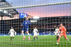 Timo Werner heads in the opening goal for Chelsea at home to Real Madrid on Wednesday