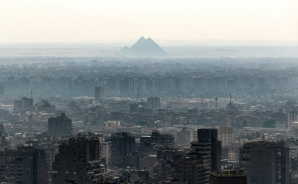 A view from the Cairo Tower in the centre of the Egyptian capital, with the Giza Pyramids on the horizon
