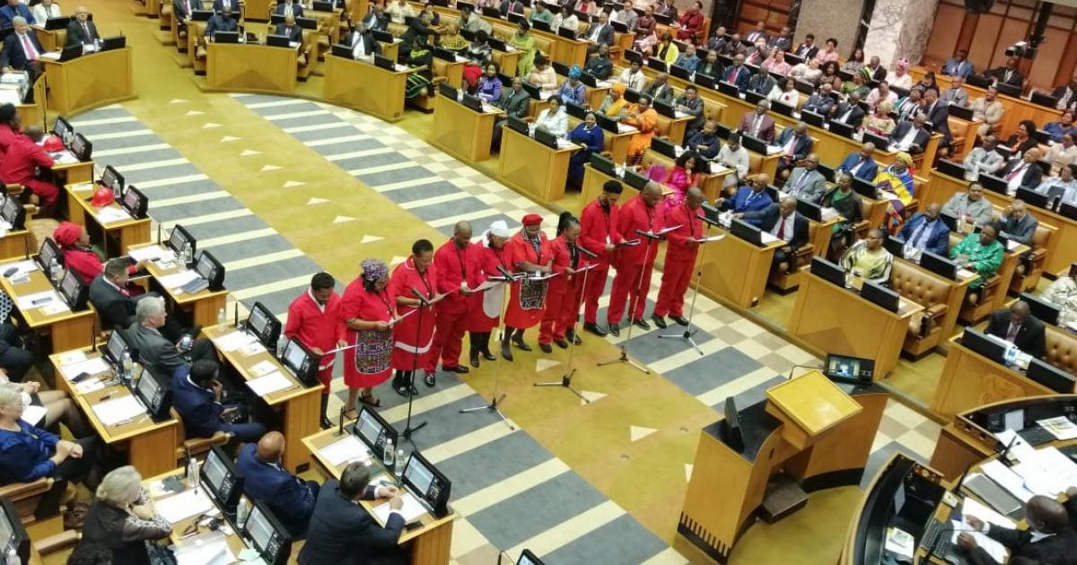 WATCH: Malema, fellow EFF members vosho into Parliament