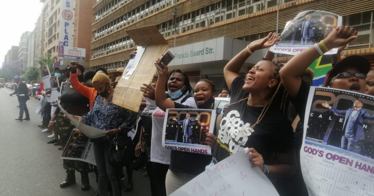 Bushiri's supporters protest outside court - eNCA