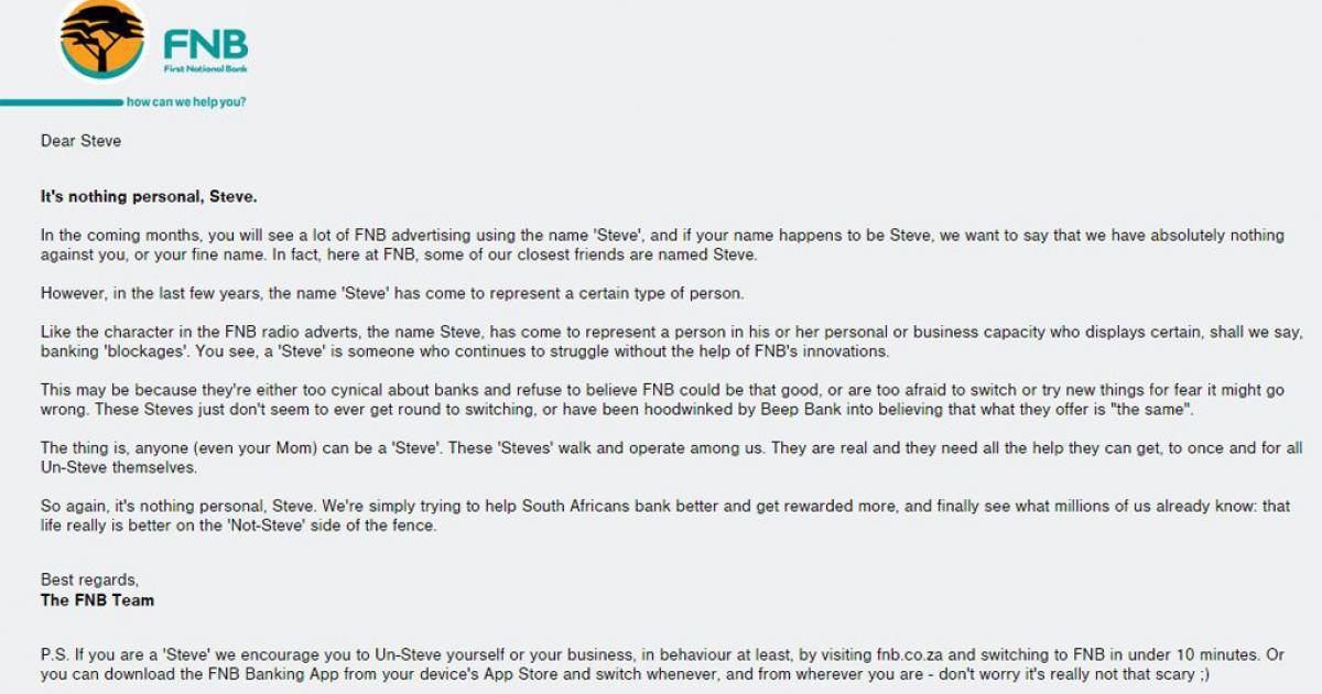 FNB ordered to un-Steve   eNCA