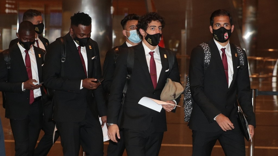 This handout photo provided by Qatar's Supreme Committee for Delivery and Legacy on January 29, 2021, shows the arrival of Egypt's Al-Ahly players to the Qatari capital Doha, ahead of the 2020 FIFA Club World Cup.