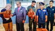 Royal Malaysian Customs Department director-general Subromaniam Tholasy (2nd-L) looking at a seized baby orangutan during a press conference in Perlis state, northern Malaysia.