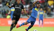 Thabo Nodada of Cape Town City fouled by Vincent Pule of Orlando Pirates during the Absa Premiership 2018/19 match.
