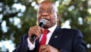 Former South African president Jacob Zuma addresses supporters.