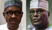Nigerian President Muhammadu Buhari (L) speaking during a joint press conference in Abuja on August 31,2018 and former vice-President Atiku Abubakar (R).
