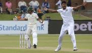 Sri Lanka's Suranga Lakmal (R) appeals for LBW call on South Africa's Keshav Maharaj during the second day of their Test cricket match.