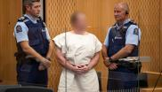 Brenton Tarrant, charged for murder in relation to the mosque attacks, is seen in the dock during his appearance in the Christchurch District Court.