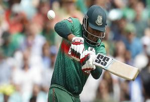 FILE: Bangladesh's Soumya Sarkar plays a shot to the boundary during the 2019 Cricket World Cup group stage match between South Africa and Bangladesh.