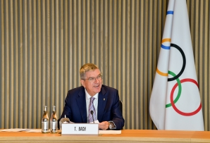 File: This handout picture taken and released by the Information Services of the International Olympic Committee (IOC) on October 7, 2020, shows IOC President Thomas Bach holding an executive board meeting at the IOC headquarters in Lausanne.