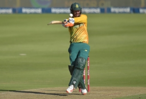 South Africa's stand-in captain Heinrich Klaasen hits a six during his 50 in the first Twenty20 against Pakistan at the Wanderers