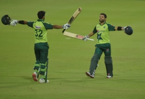 Winning moment: Mohammad Rizwan (right) celebrates with Hasan Ali