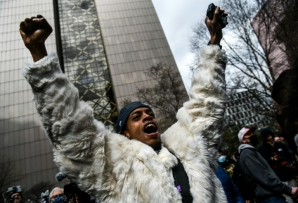 A man celebrates as the verdict is announced in the trial of former police officer Derek Chauvin in Minneapolis