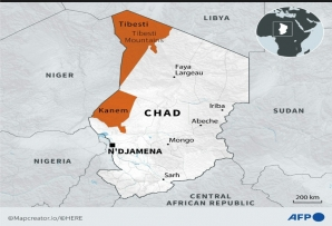 Map of Chad locating regions of Tibesti and Kanem, where clashes have occurred between the army and rebels during which president Idriss Deby was fatally wounded.